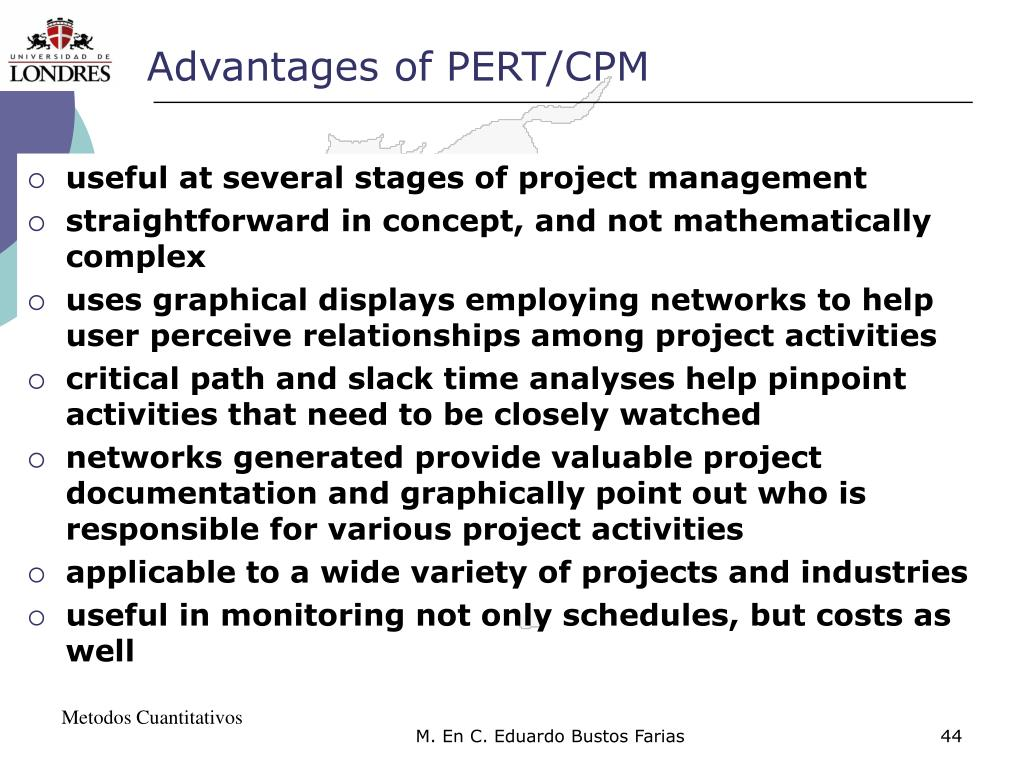 Advantages of PERT/CPM