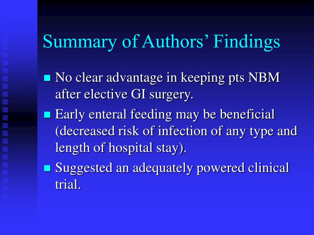 Summary of Authors' Findings