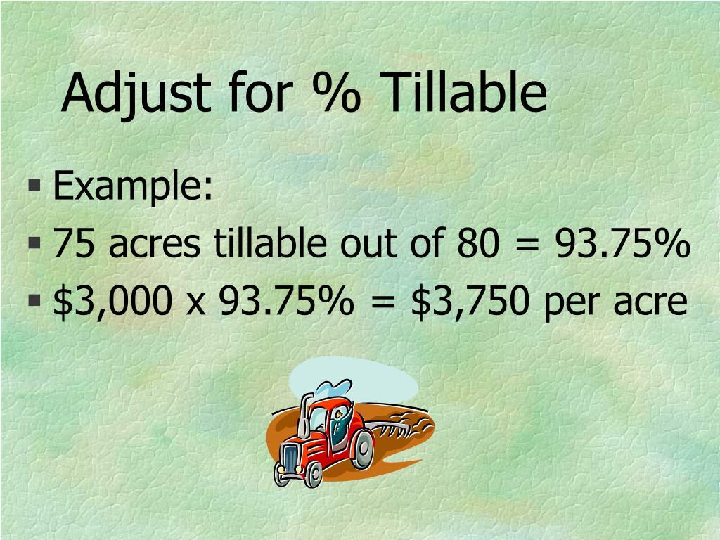 Adjust for % Tillable