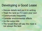 developing a good lease