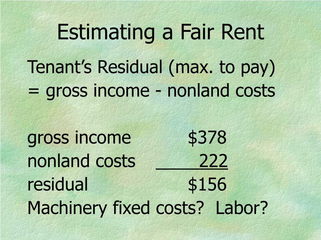 Estimating a Fair Rent