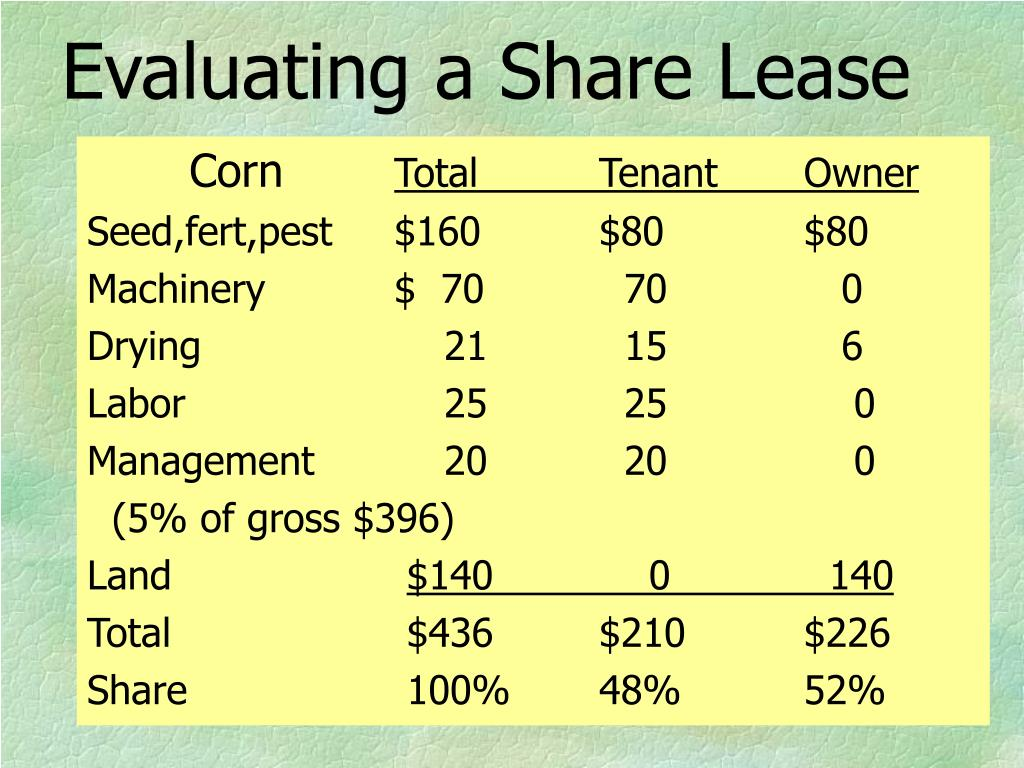 Evaluating a Share Lease