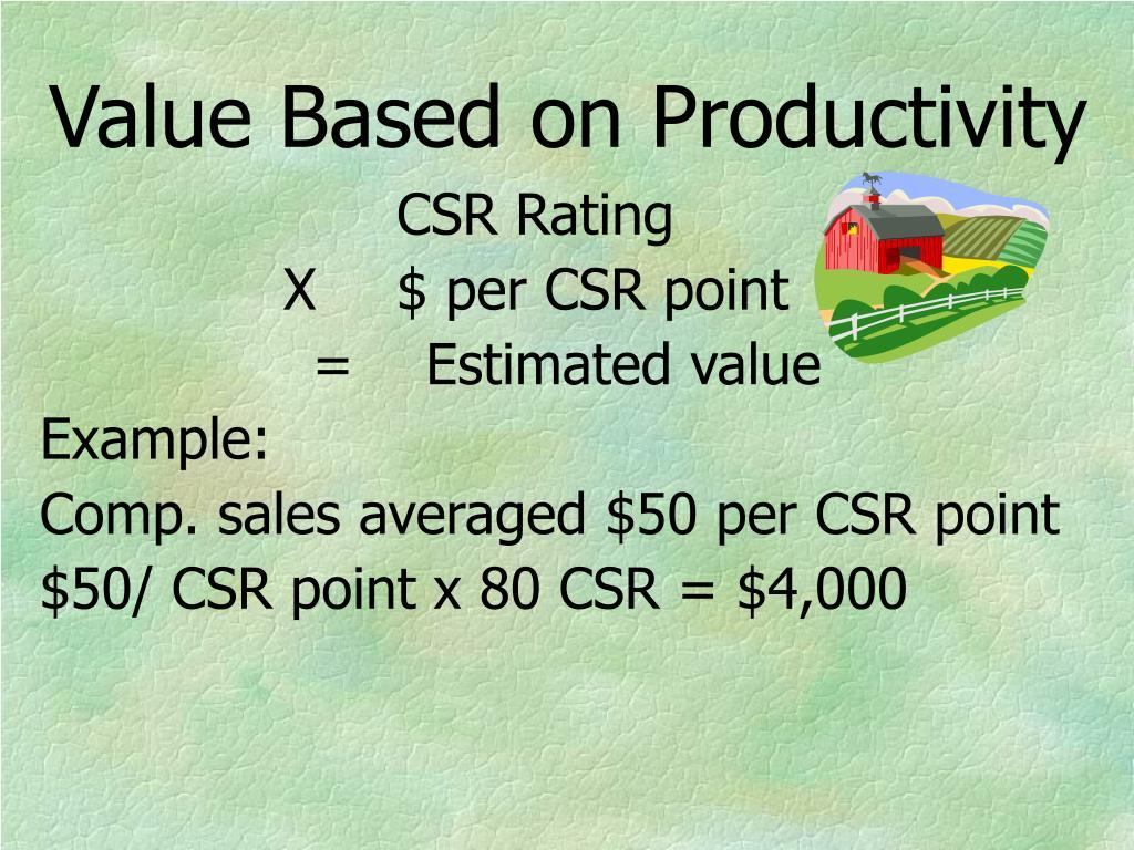 Value Based on Productivity