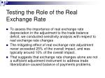 testing the role of the real exchange rate