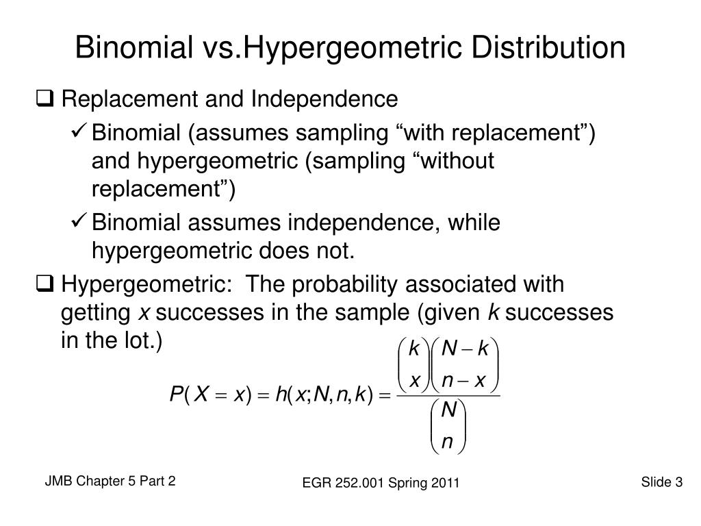 Binomial vs.Hypergeometric Distribution