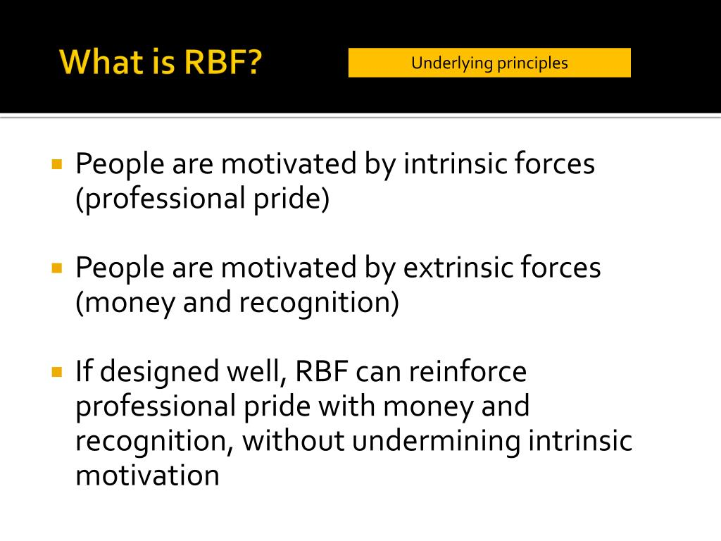 People are motivated by intrinsic forces (professional pride)