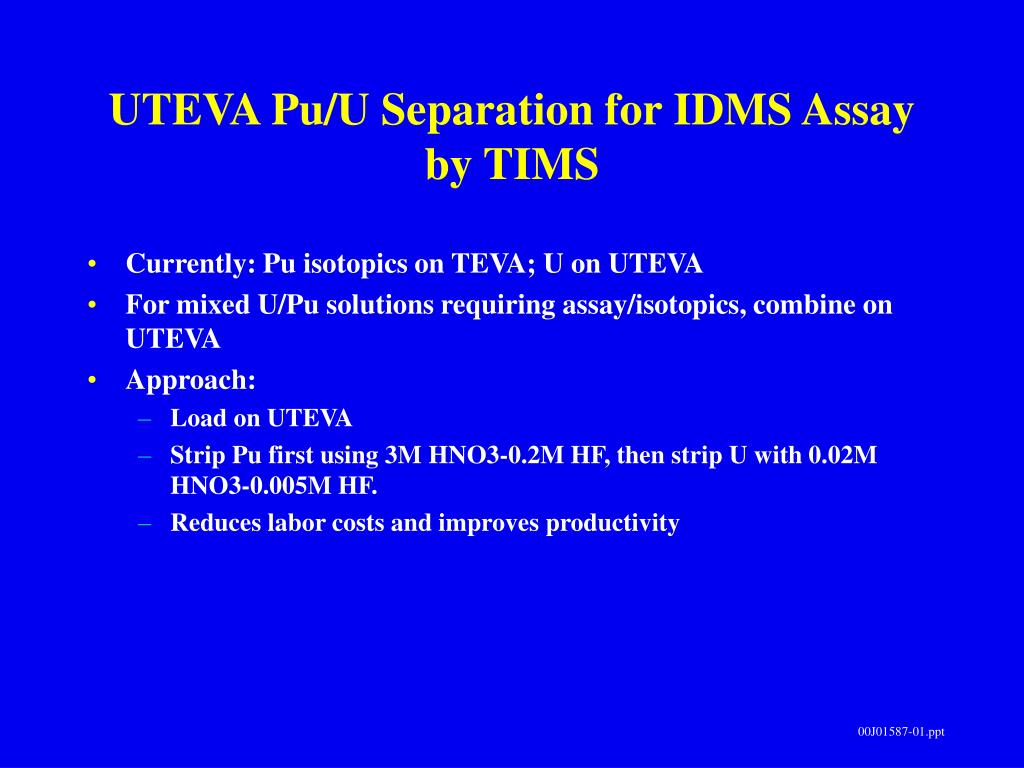UTEVA Pu/U Separation for IDMS Assay by TIMS