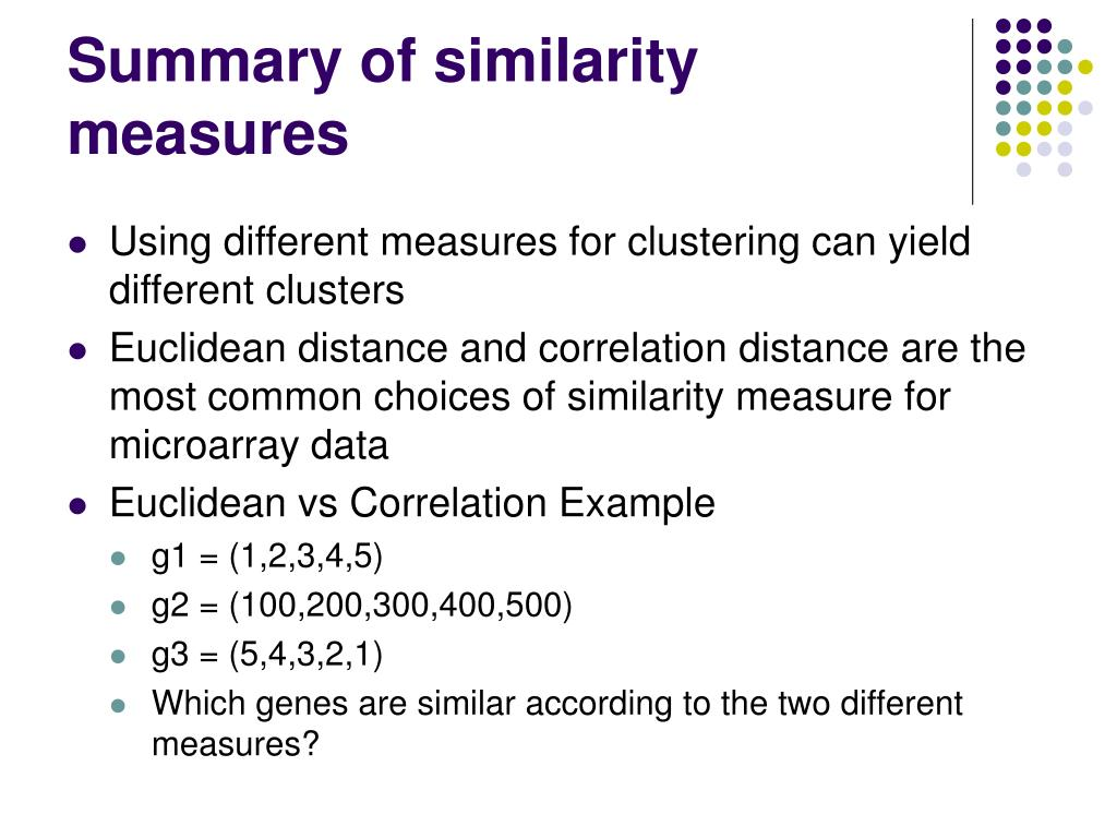 Summary of similarity measures