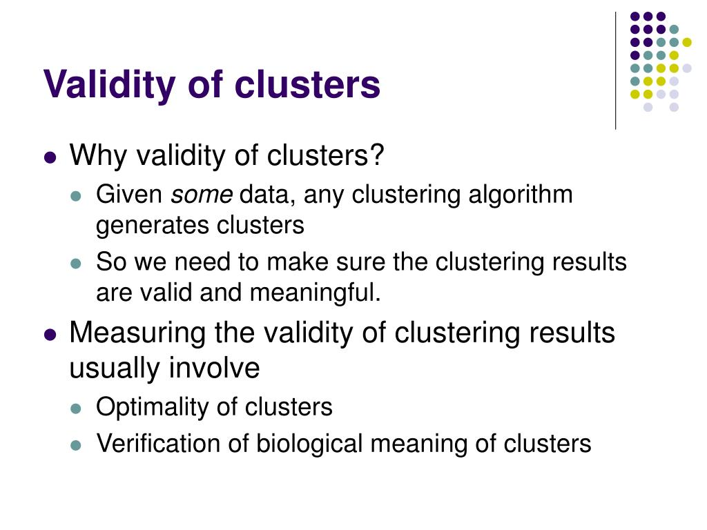 Validity of clusters