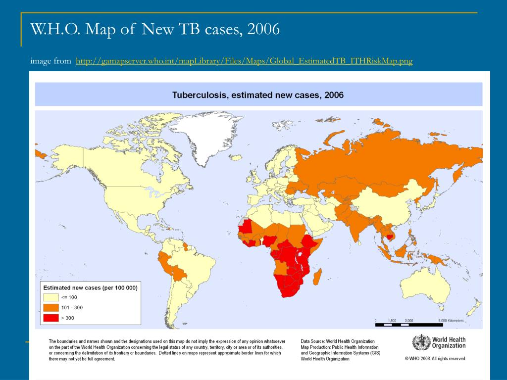 W.H.O. Map of New TB cases, 2006