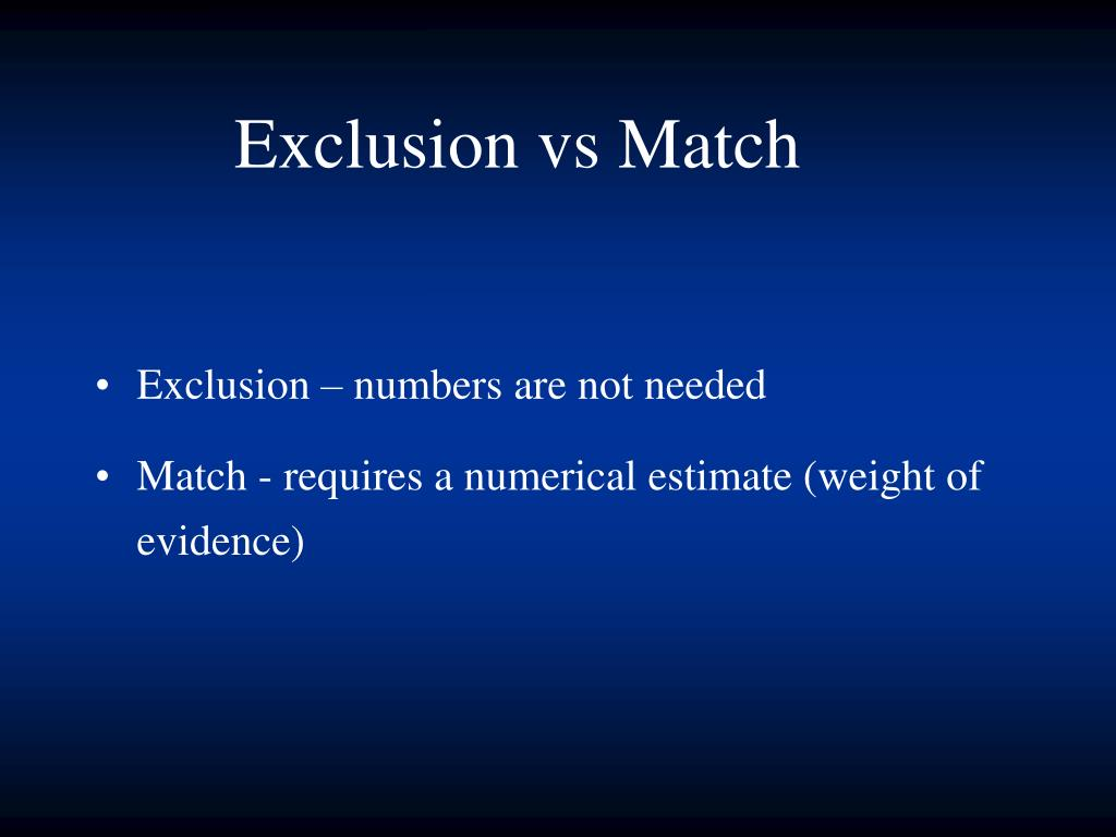 Exclusion – numbers are not needed