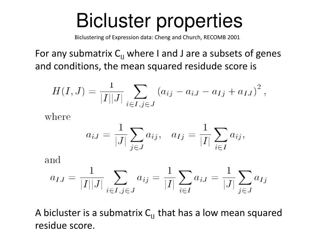 Bicluster properties