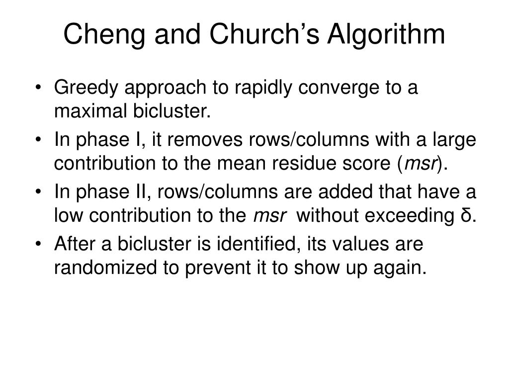 Cheng and Church's Algorithm