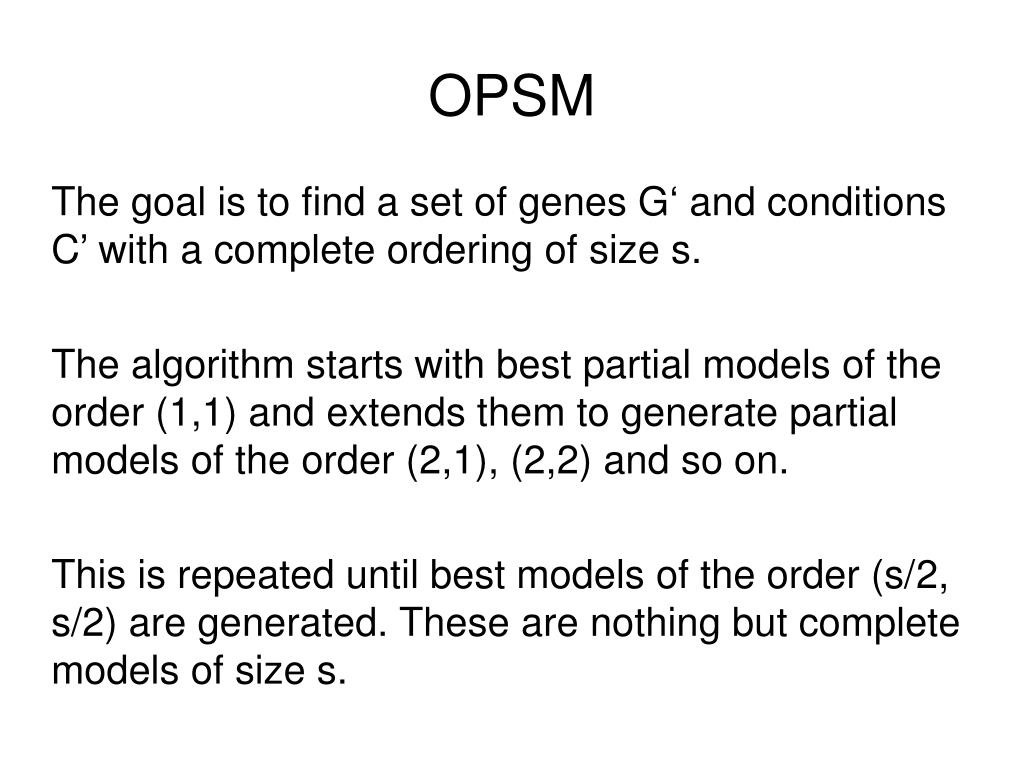 The goal is to find a set of genes G' and conditions C' with a complete ordering of size s.