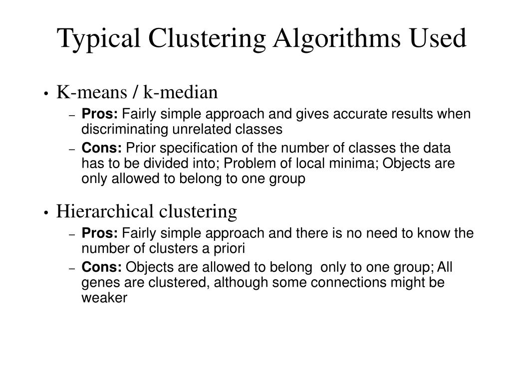 Typical Clustering Algorithms Used