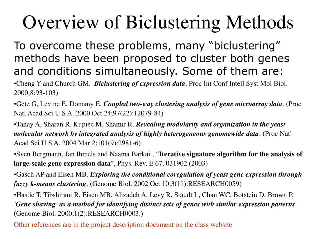 Overview of Biclustering Methods