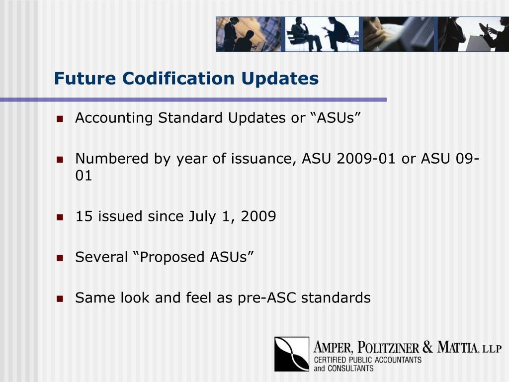 Future Codification Updates