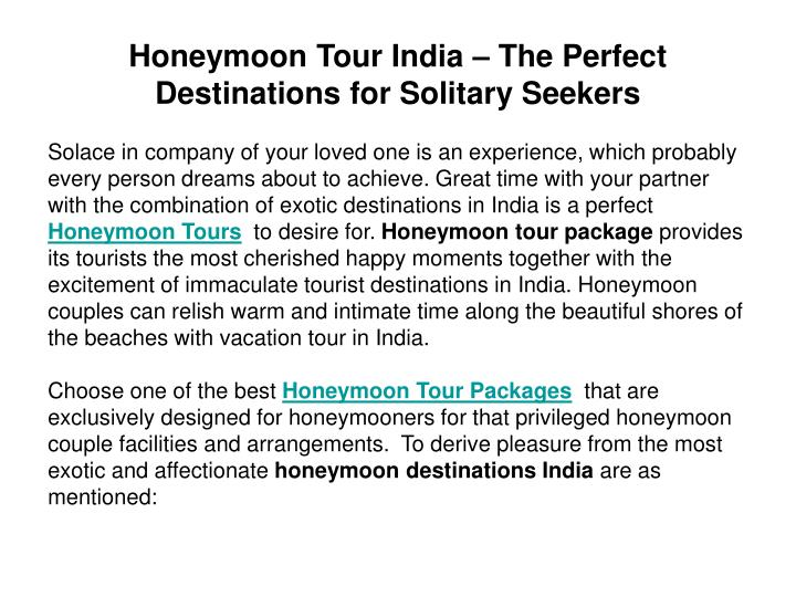 Honeymoon tour india the perfect destinations for solitary seekers2
