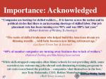 importance acknowledged
