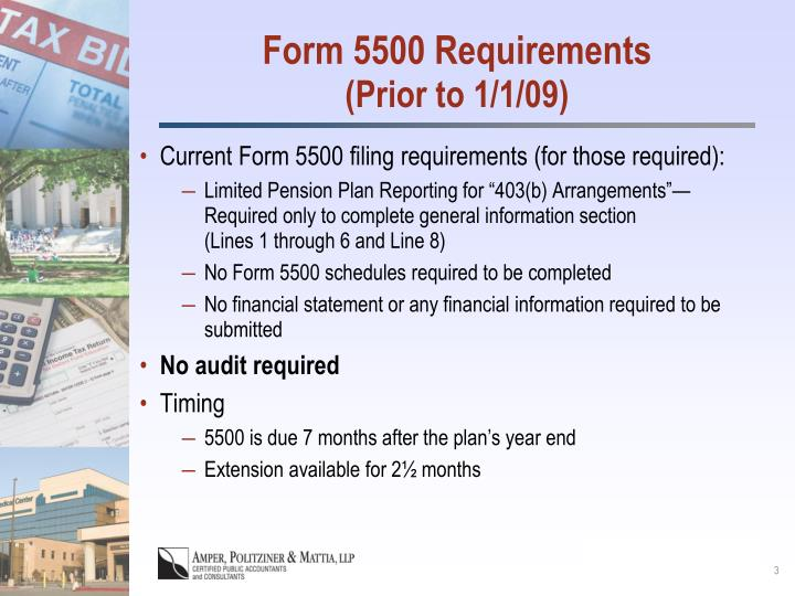 Form 5500 requirements prior to 1 1 09