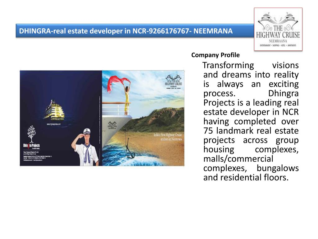 DHINGRA-real estate developer in NCR-9266176767- NEEMRANA