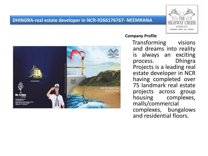 Dhingra real estate developer in ncr 9266176767 neemrana