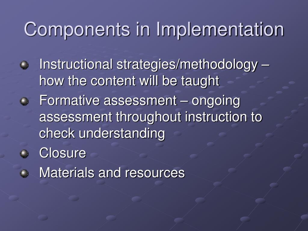 Components in Implementation