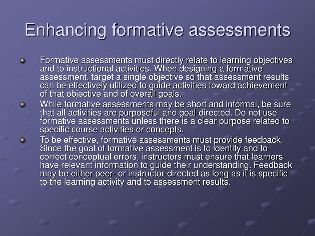 Enhancing formative assessments
