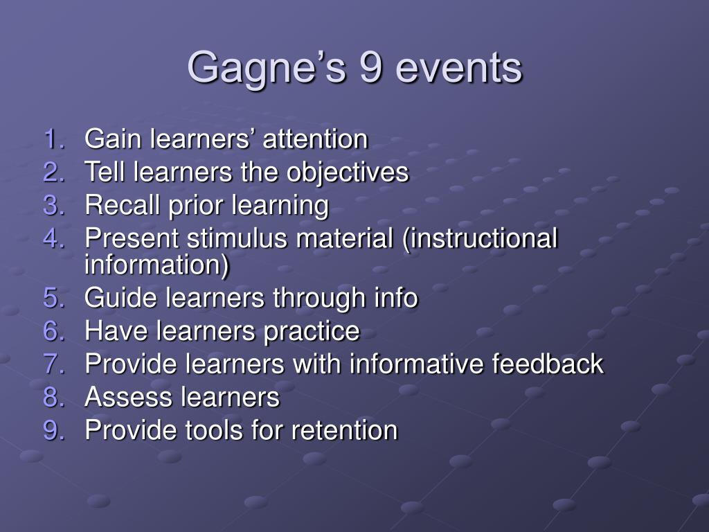Gagne's 9 events