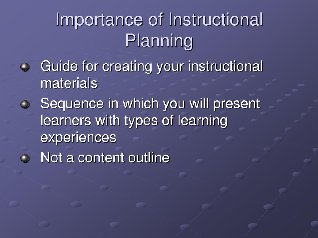 Importance of Instructional Planning