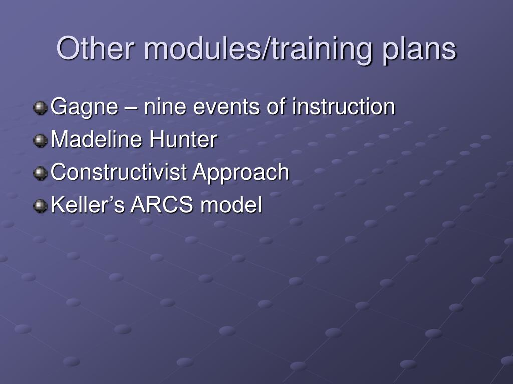 Other modules/training plans