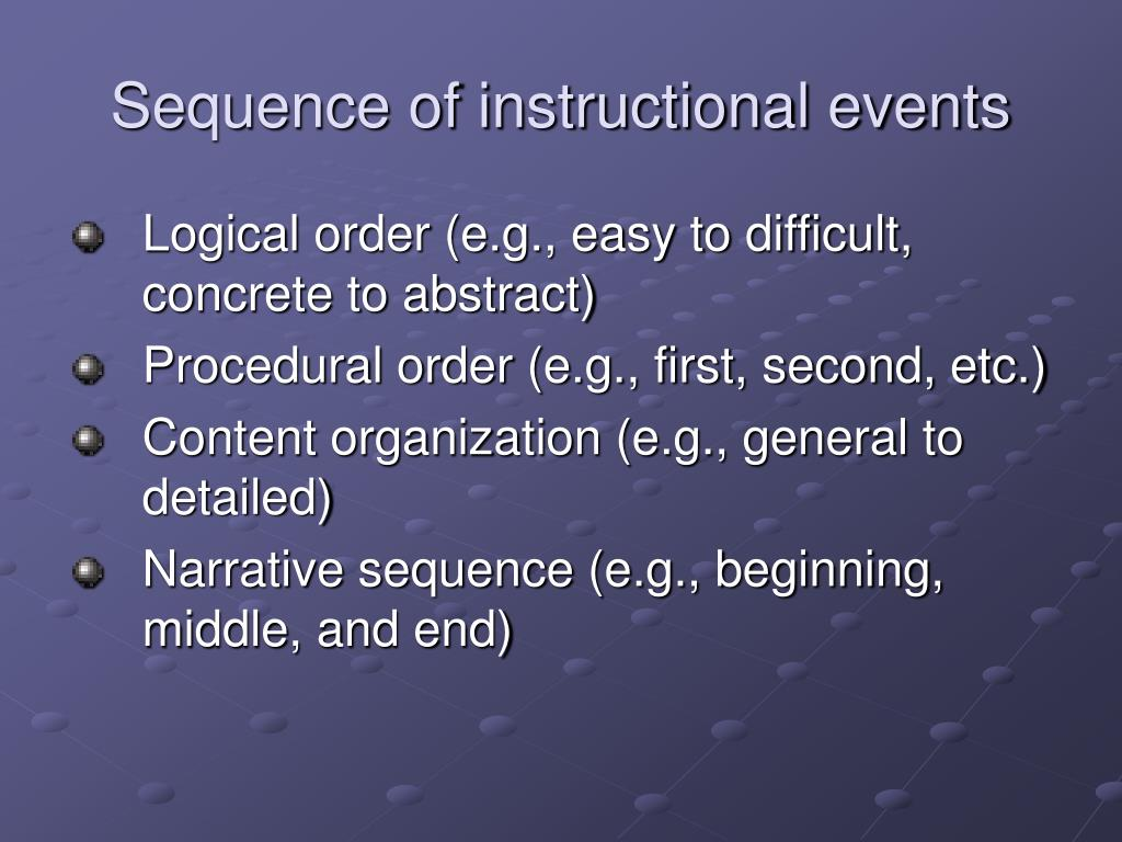 Sequence of instructional events
