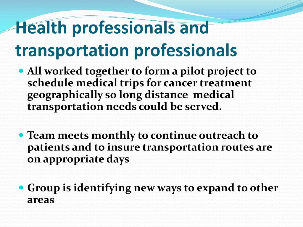 Health professionals and transportation professionals