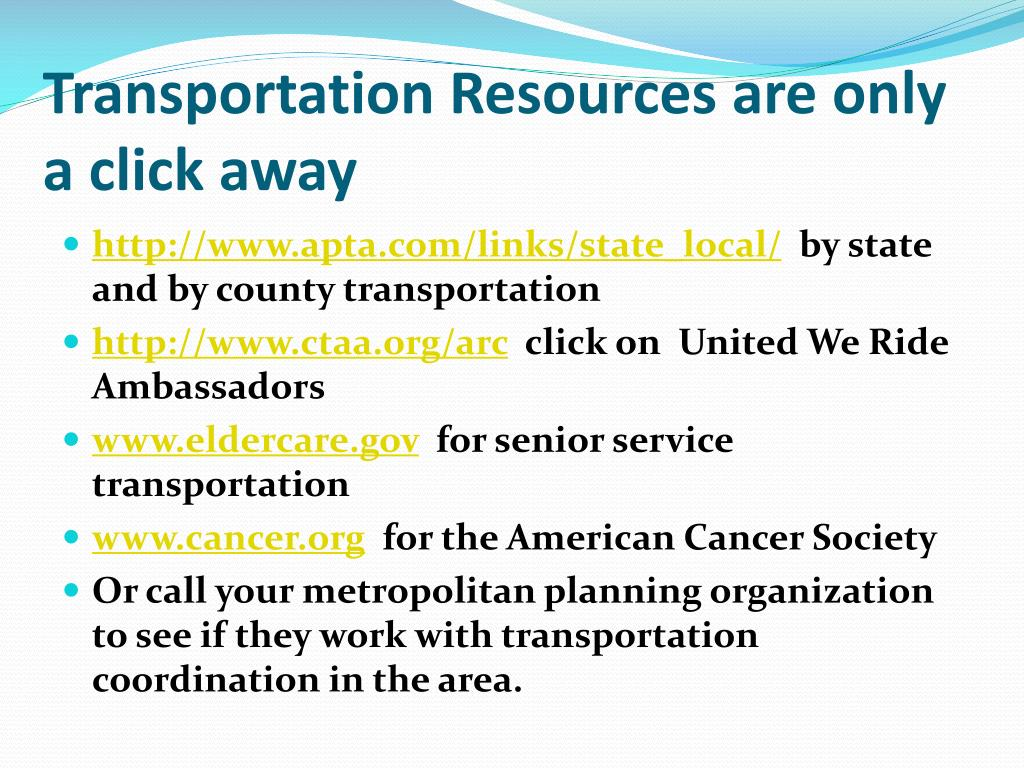 Transportation Resources are only a click away