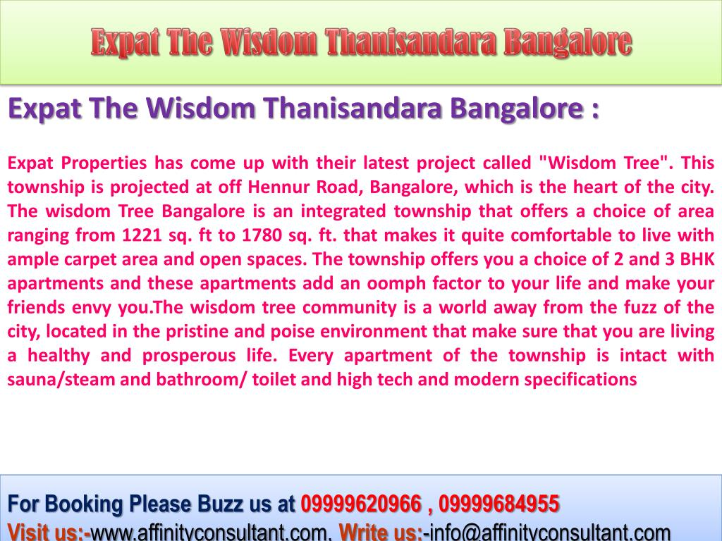 Expat The Wisdom Thanisandara Bangalore