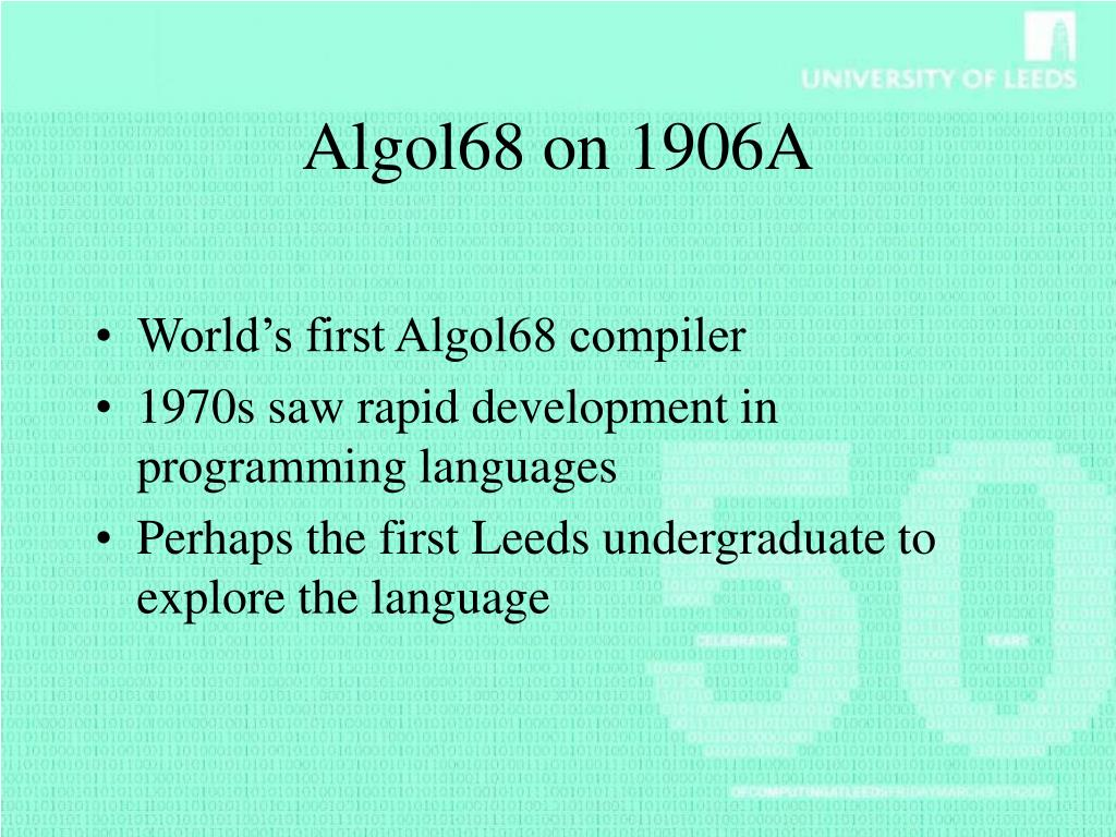 Algol68 on 1906A