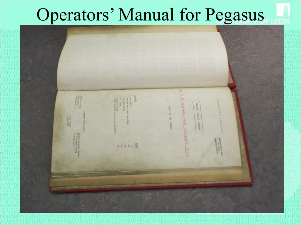 Operators' Manual for Pegasus