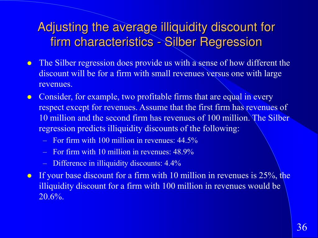 Adjusting the average illiquidity discount for firm characteristics - Silber Regression