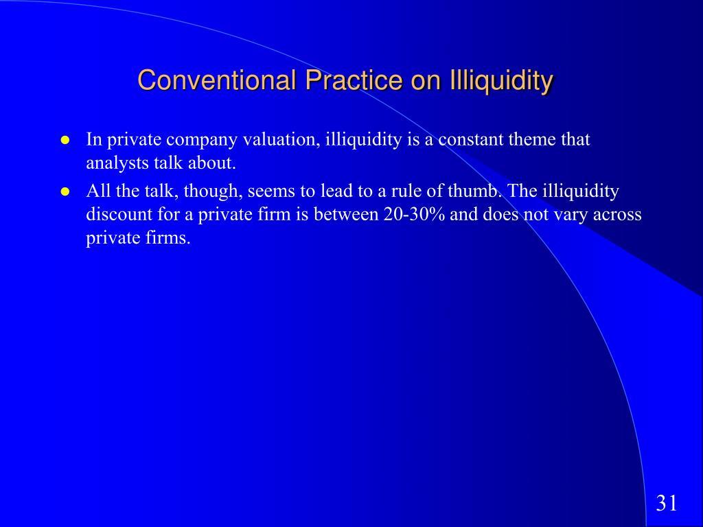 Conventional Practice on Illiquidity