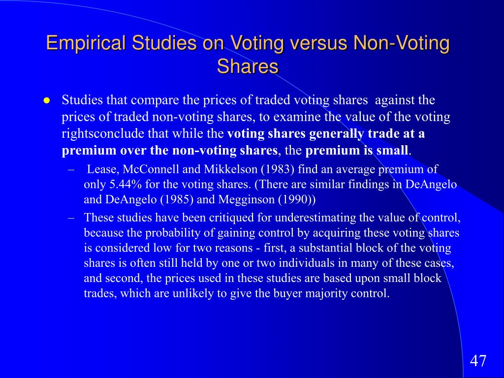 Empirical Studies on Voting versus Non-Voting Shares