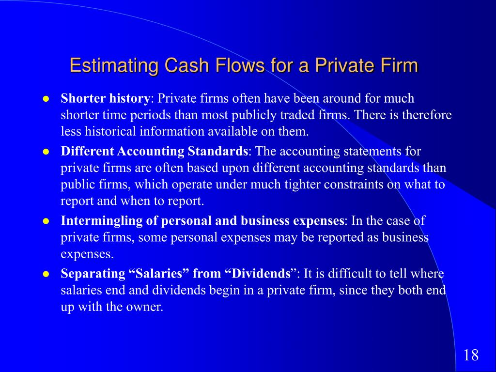 Estimating Cash Flows for a Private Firm