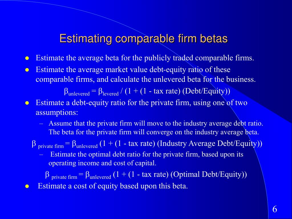 Estimating comparable firm betas