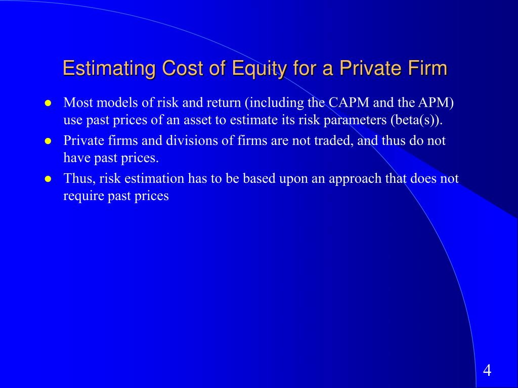 Estimating Cost of Equity for a Private Firm