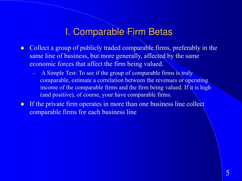 I. Comparable Firm Betas
