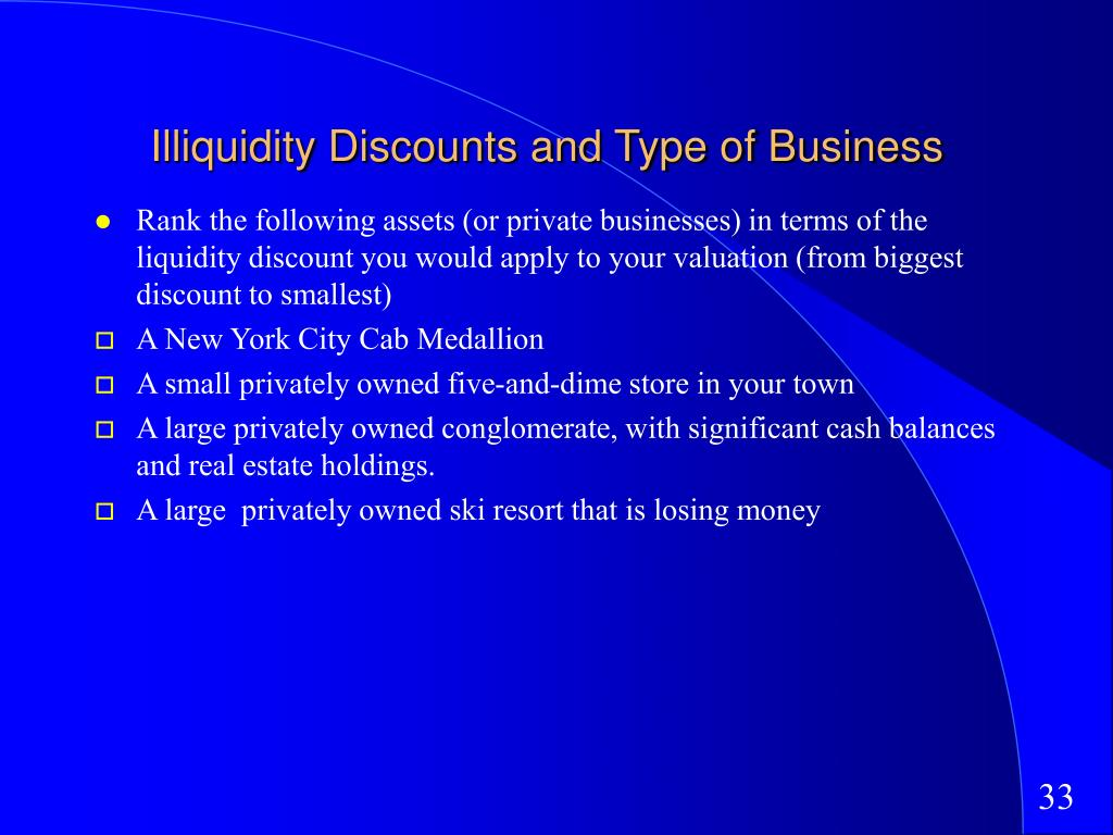 Illiquidity Discounts and Type of Business