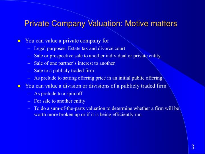 Private company valuation motive matters l.jpg