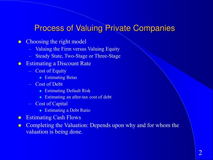 Process of valuing private companies l.jpg