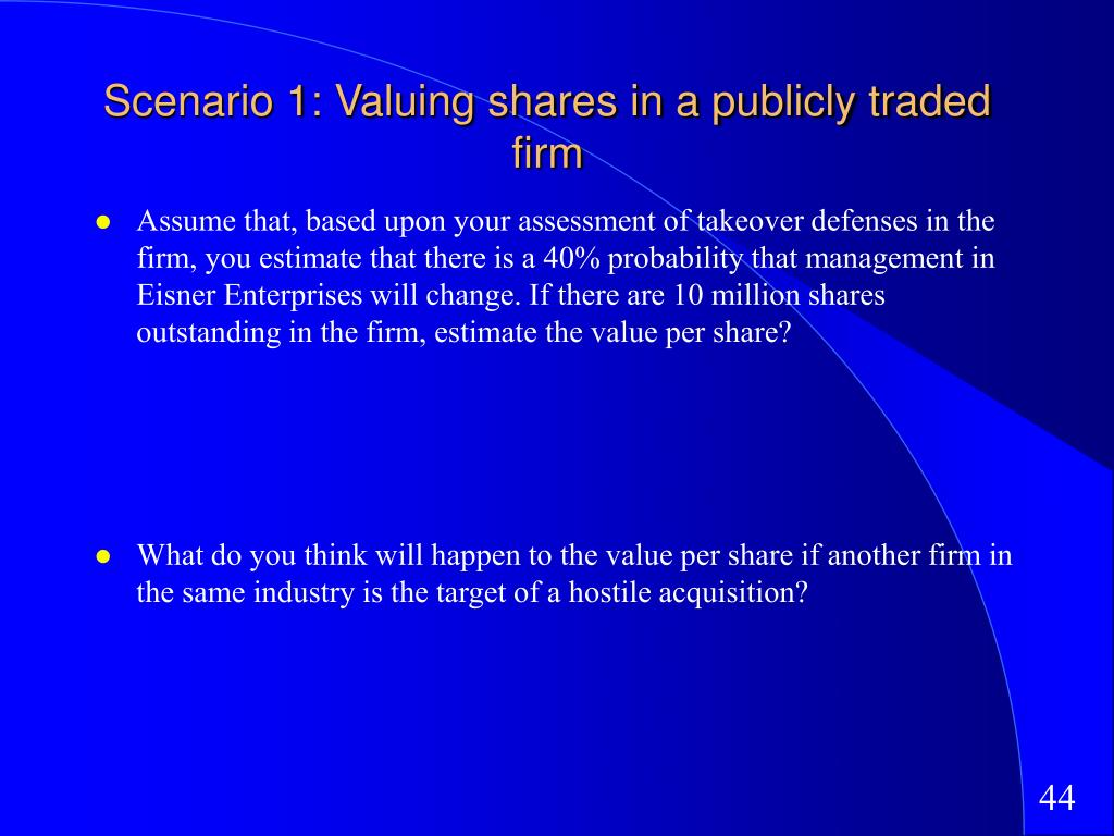 Scenario 1: Valuing shares in a publicly traded firm