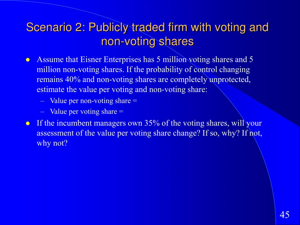 Scenario 2: Publicly traded firm with voting and non-voting shares