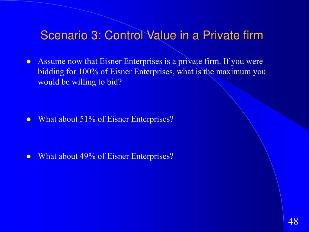 Scenario 3: Control Value in a Private firm